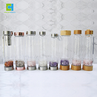 Visionary Gemstone Glass Water Drinking Bottles with Crystals