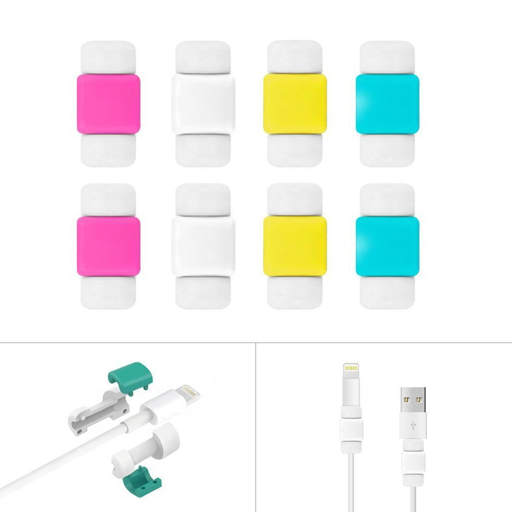 Cable Protector (8 Pcs), BUTEFO Lightning Charging Data Cable Saver Protector for iPhone (Rose Red+White+Yellow+Sky Blue)