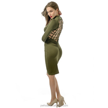 Women Long Sleeve Backless Mesh Cross Red Sexy Club Bandage Dress