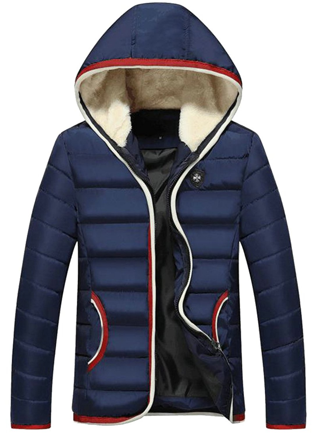 76e66f58b65 Get Quotations · ONTBYB Mens Slim Fit Zipper Hooded Padded Parka Coats