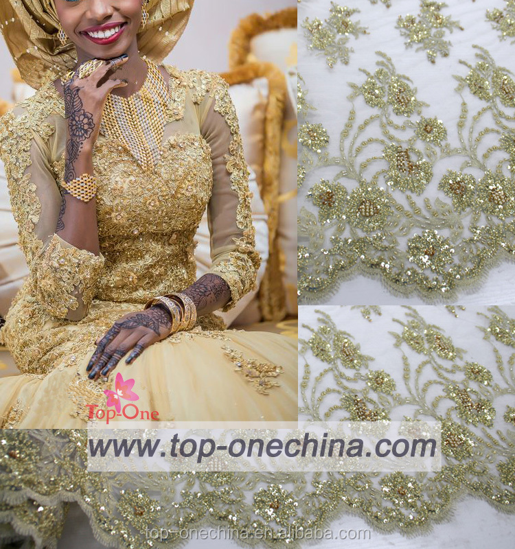 High quality lace wedding dresses wholesale beaded lace fabric african french lace