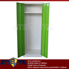 simple 2 doors iron cloth cabinet with top hanging rail & shelf / green two doors steel garderobe with hanging rod