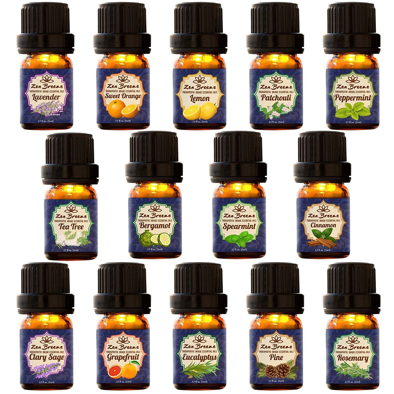 Essential Oils for Oil Diffuser - Top 14 Aromatherapy Essential Oils - 100% Pure Therapeutic Grade - Lavender, Eucalyptus, Lemon, Peppermint, Sweet Orange, Tea Tree, Bergamot, +8 more, by Zen Breeze
