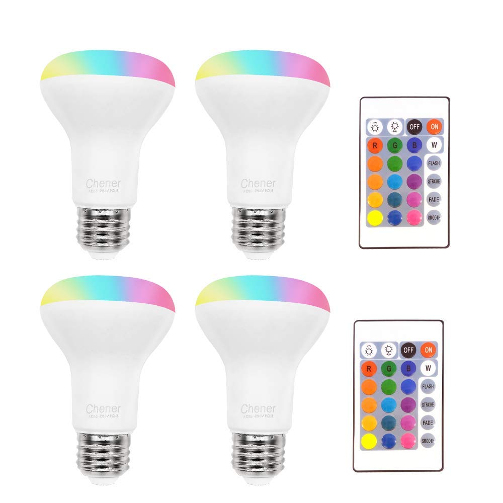 8W Color Changing Light Bulb, 4 Pack, LED Colored Light Bulbs E26 RGB 16 Colors Lamp with IR Remote Control for Home Decoration, Bar, Party, KTV, Holiday, Christmas Mood Lighting, Chener