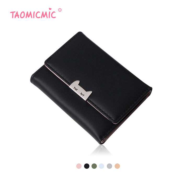 Metal fitting Lovely Cute Cat Ears PU Leather Wallet For Women, Girls, Ladies, College Student