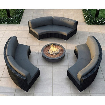 3 Pc Armless Curved Garden Bench Outdoor Furniture Rattan Round Sectional  Sofa - Buy Round Sectional Sofa,Curved Sofa,Outdoor Garden Bench Product on  ...