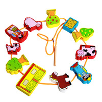 FQ brand educational wooden beaded animal puzzle toy beads