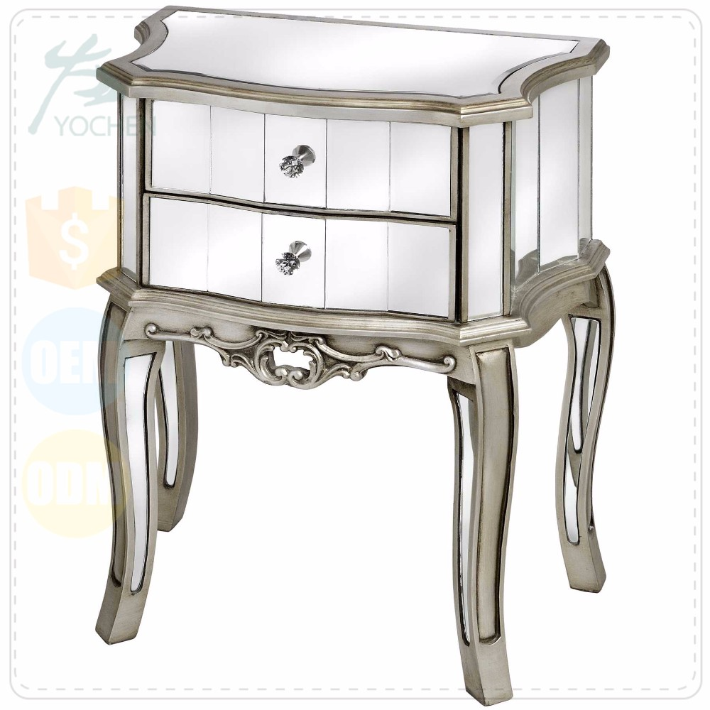 Modern Mirrored 2 Drawers Nightstand and Chest in Antique Silver
