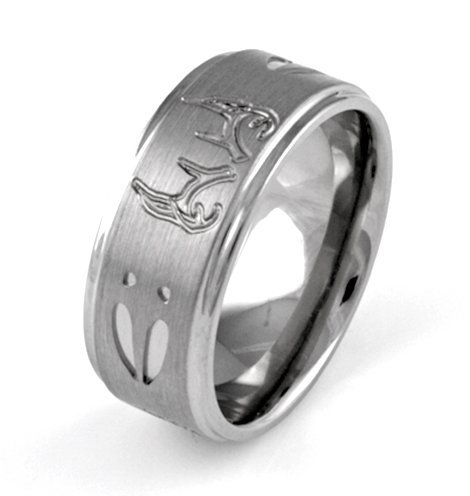 most popular 8mm titanium deer tracks and antlers ring camo wedding band men jewelry lover rings - Mens Camo Wedding Rings