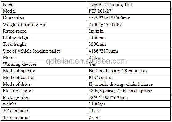 Household Hydraulic Car Lift 2 Post Car Lift Mini 2 Post Car