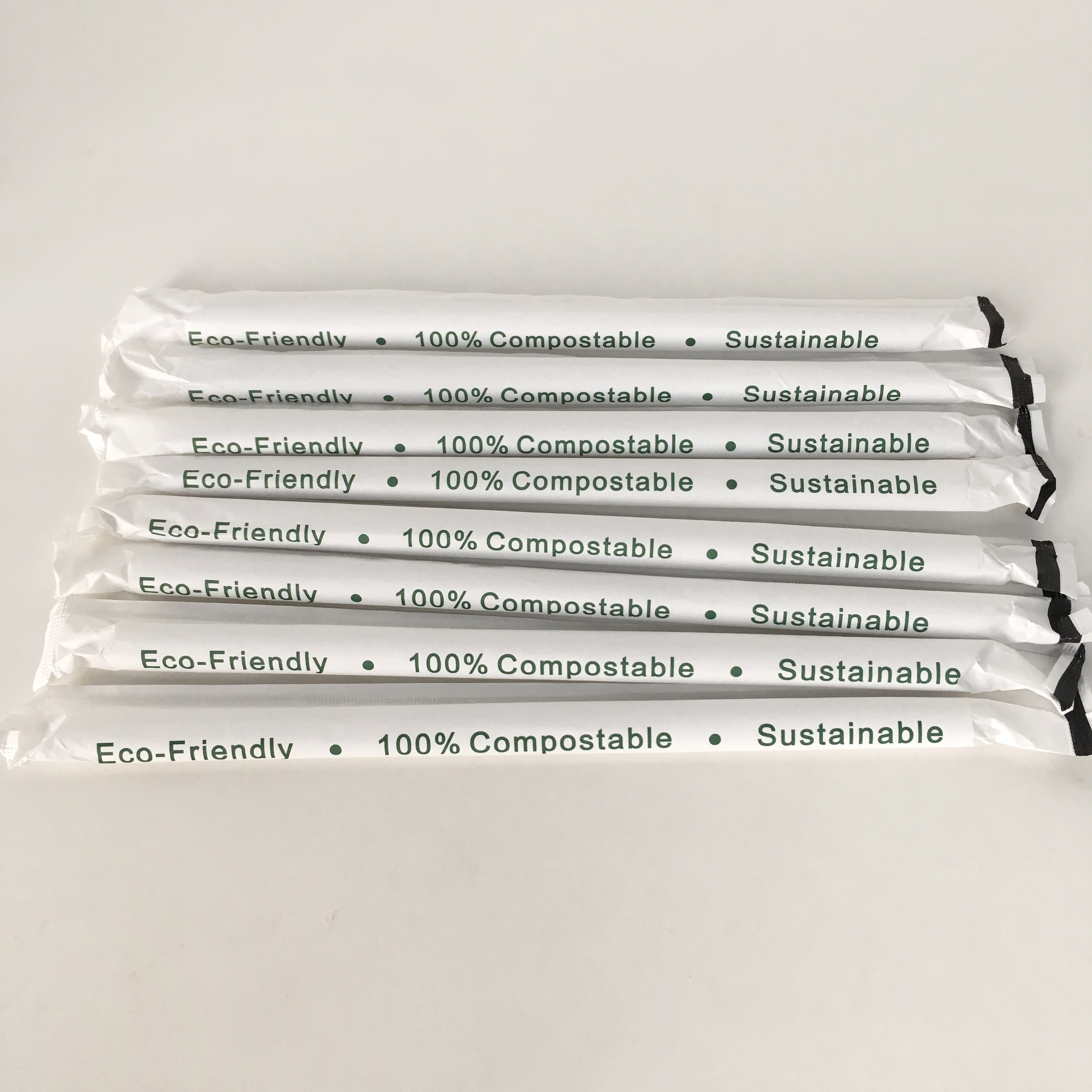 Eco-friendly polylactic biodegradable white straight slanted drinking bubbe tea 10mm individually wrapped pla jumbo straws