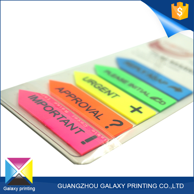 PET removable arrow shape sticky notes decorative sticker custom shape plastic bookma