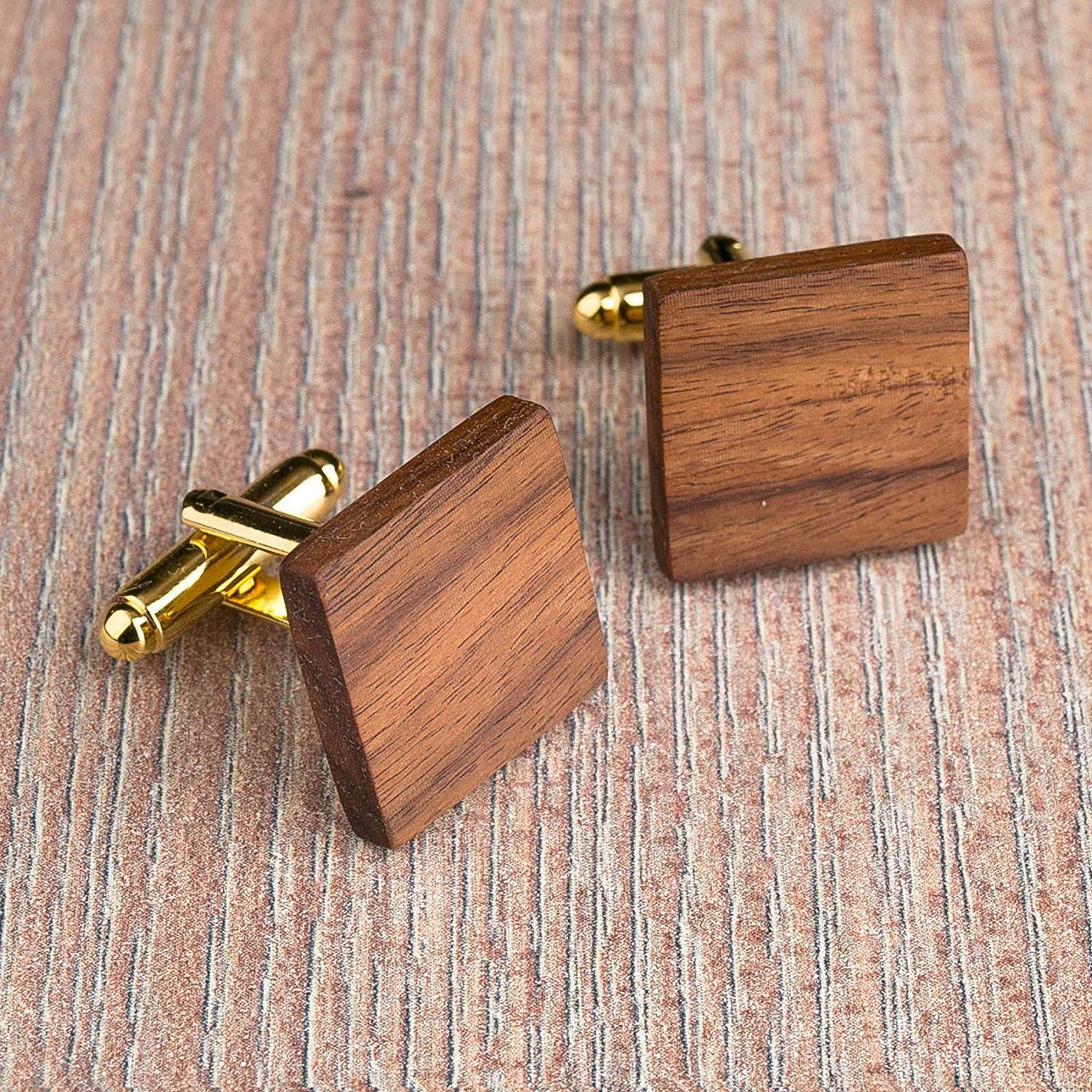 Rosewood Wood cufflinks. Brown Square cufflinks. Custom personalized initial monogram cufflinks. Natural wood engraved jewelry for men. Boss present. 3 base color. Wedding groomsmen groom gifts