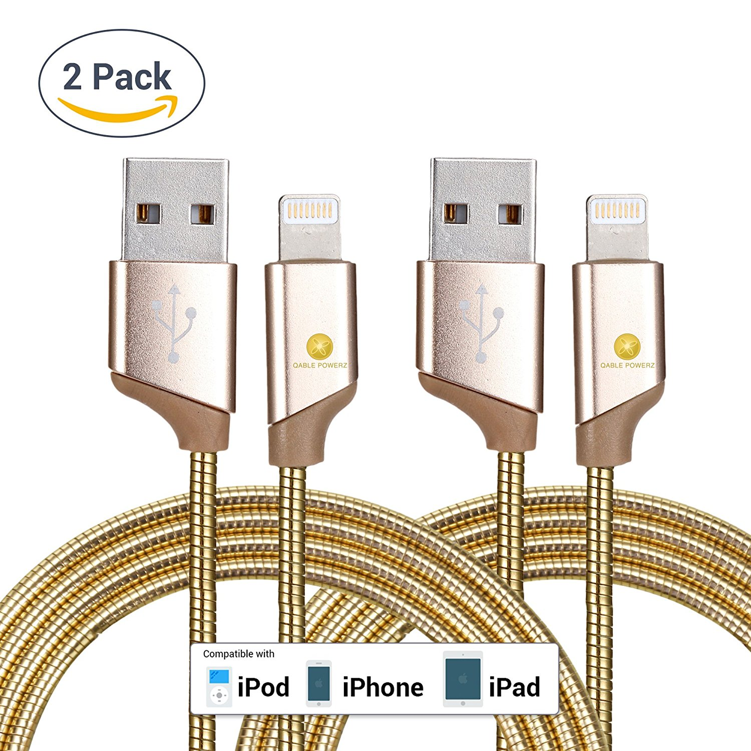 2pk New Ultra Super-Fast Heavy Duty 3Ft (1M) 2pk 8-Pin Lightning Metal Spring Cord Charging Cable High Speed USB 3.0 Sync Cable for iPhone 7, 6, 6 Plus – Gold