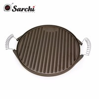 Round Cast Iron Griddle Pan With Stainless Steel Spring Handles