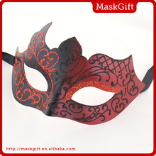 Good quality decorative red plastic masquerade mask for sale C008-RBK
