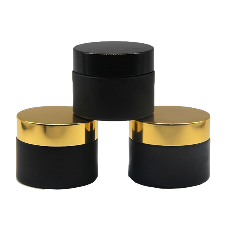 2 oz vintage matte black frosted amber glass cosmetic bottles jars with metal lids