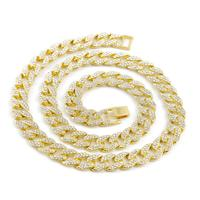24 Inches Gold Plated Iced Out Jewelry Necklace Cuban Link Gold Chain Big Gold Chain For Men