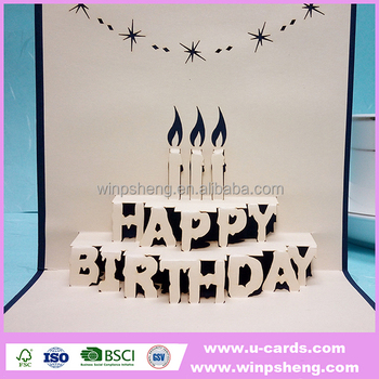Custom Laser Cut Birthday Wishes Pop Up Greeting Cards For Father