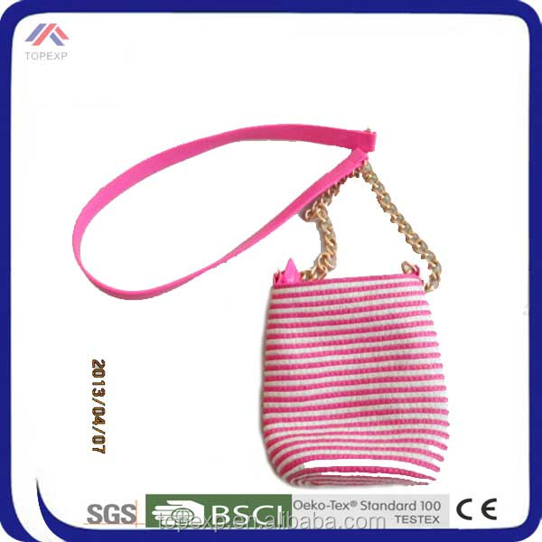 Striped Long Handle Small Bag Tote Shoulder Double-Purpose Straw Bag