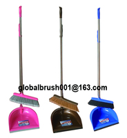 HQ0808 USA market interior cleaning plastic long stainless steel handle dustpan broom
