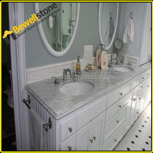 Flat edges 49 inch white marble bathroom vanity tops with double sinks