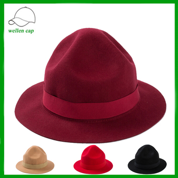 Top quality solid color special designed Italian hats wool felt fedora hat  capeline 9cb4fa9d2d9