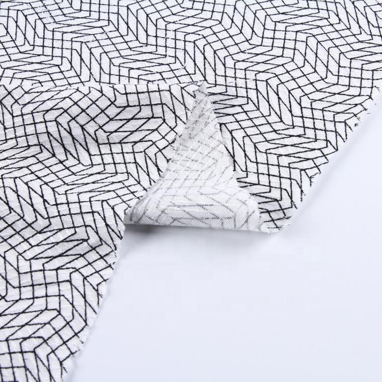 安い三角形プリントポリエステルビスコースジャカード生地のためのドレス