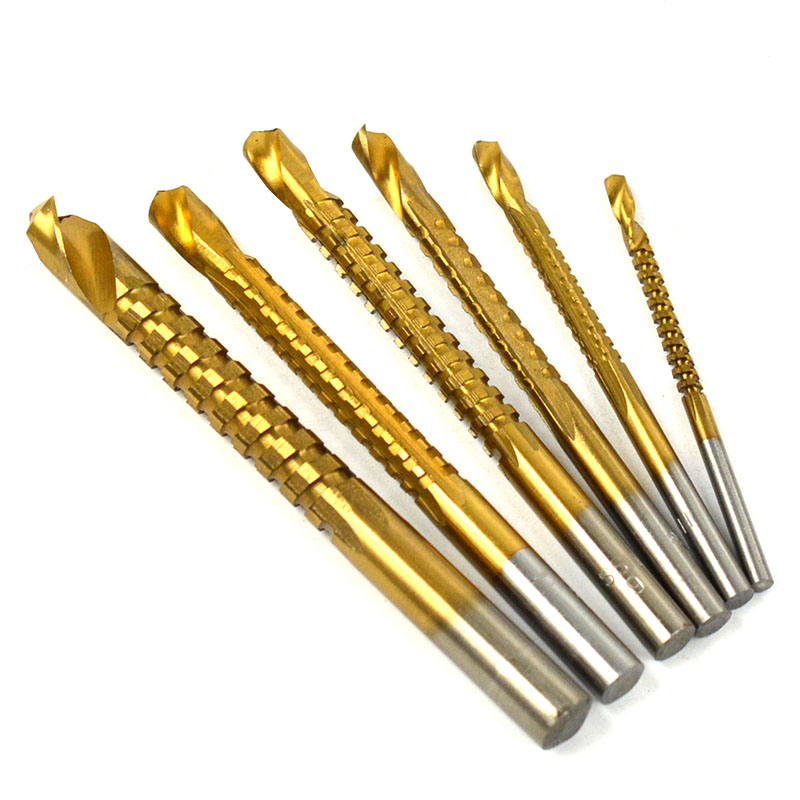 3/4/5/6/6.5/8mm 6Pcs <strong>Drill</strong> Bit Set HSS Titanium Coated High Speed Steel <strong>Drill</strong> Tool