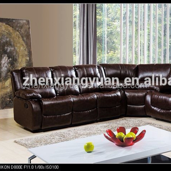 2018 Living Room Furniture Cheap Corner Round Sofa Brown Bonde Leather  Recliner Sofa