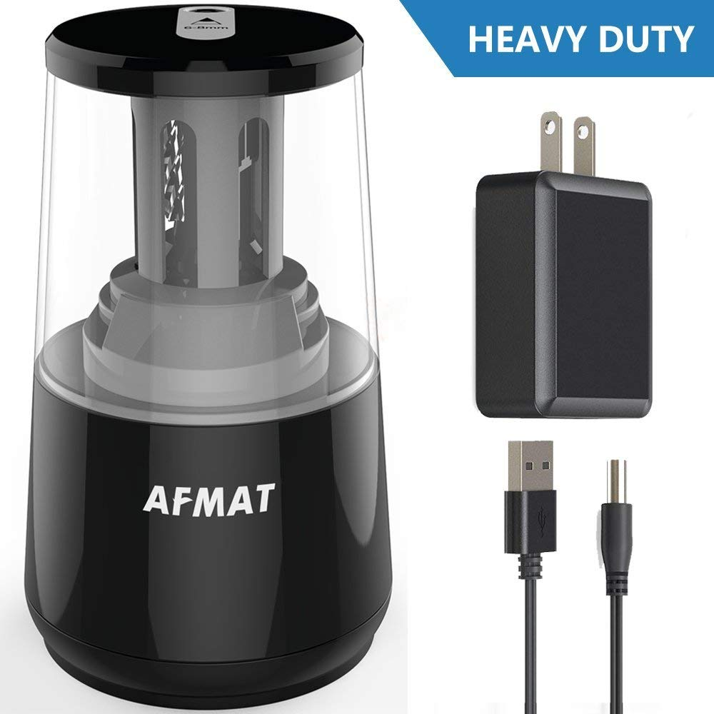 AFMAT Electric Pencil Sharpener, Heavy Duty Helical Blade Sharpeners, Auto Stop for Kids, School Home Office Classroom, AC or Battery Operated for NO. 2/Colored Pencils (USB Cord and Adapter Included)
