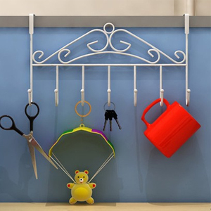 7 hooks hat bag clothes over door metal rack bathroom tissue towel holder