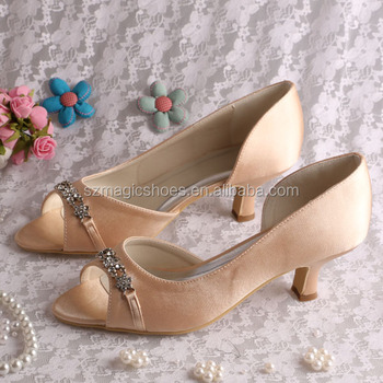 2 Inch Champagne Color Wedding Low Heel Shoes