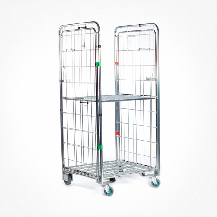 Metal foldable logistic stainless steel wire rolling full security cage cart