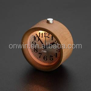 Nightlight Wood Alarm Clock with Round Silent table Snooze beech as a gift