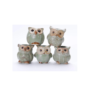 Wholesale Ceramic Porcelain Owl Shape Flower Pot