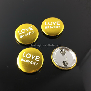 Cheap price gold stamping 25mm size round button badge , pin badge