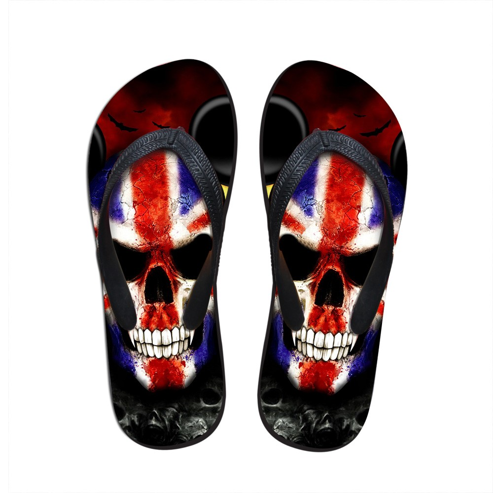 fc6e9b09684f Wholesale 3D PUNK Skull Print Summer Slippers For Men Casual Shoes ...
