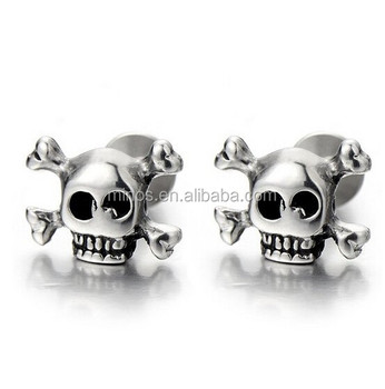 Stainless Steel Pirate Skull Stud Earrings For Men Boys Women Gothic Punk Rock