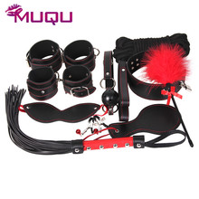 10 pieces black with red line adult sex toys BDSM slave male leather bondage kit