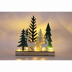 Christmas Wood Crafts.2018 New Products Christmas Wooden Crafts With Led Light With Xmas Trees And Deers Standing For Home Decor