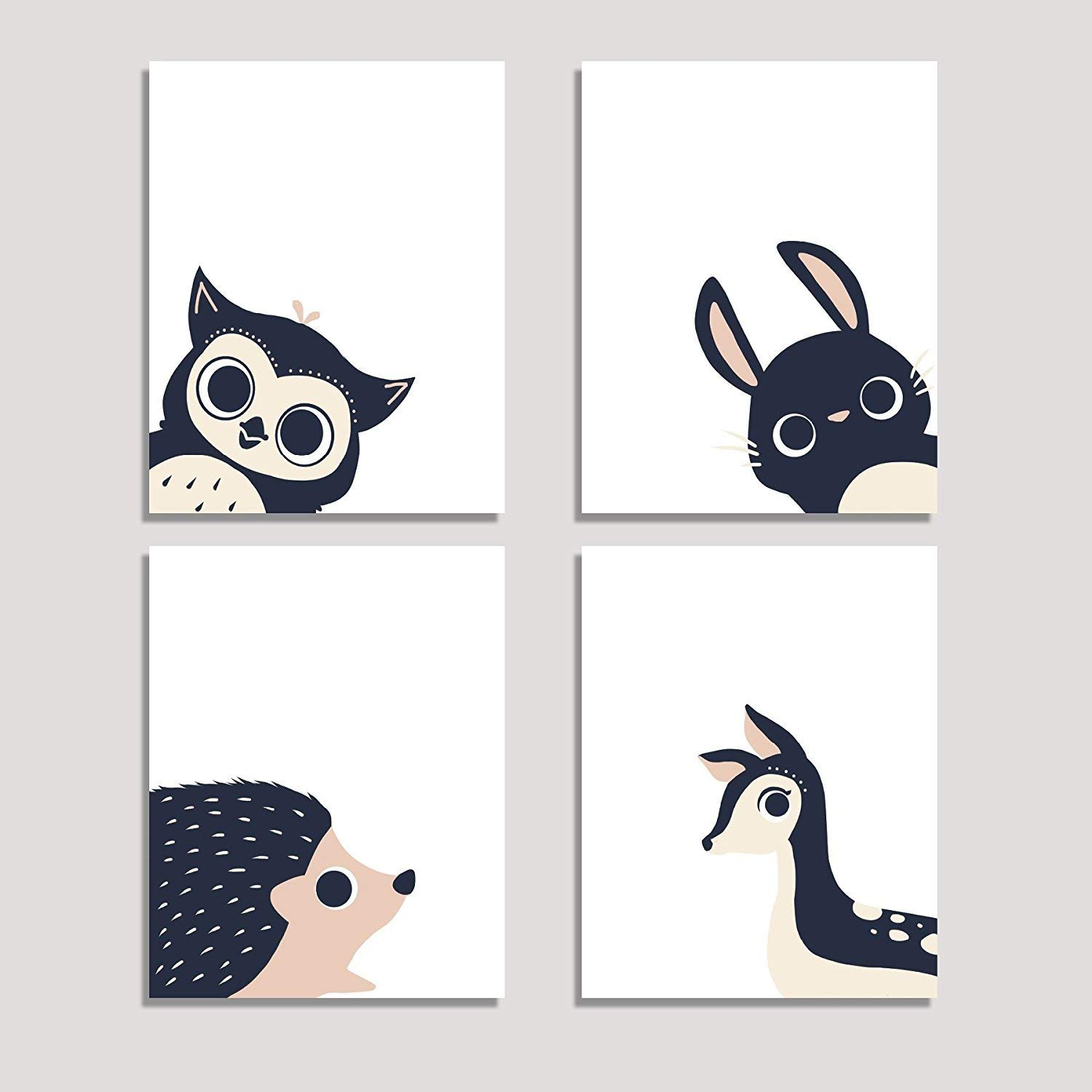 Peeking Animal Collection, Children's Wall Art Prints, Set of Four 08x10 Inch Print, Forest Nursery, Gender Neutral Nursery Decor, Rabbit, Deer, Owl, Hedgehog Decor, Woodland Nursery, Baby Room Decor