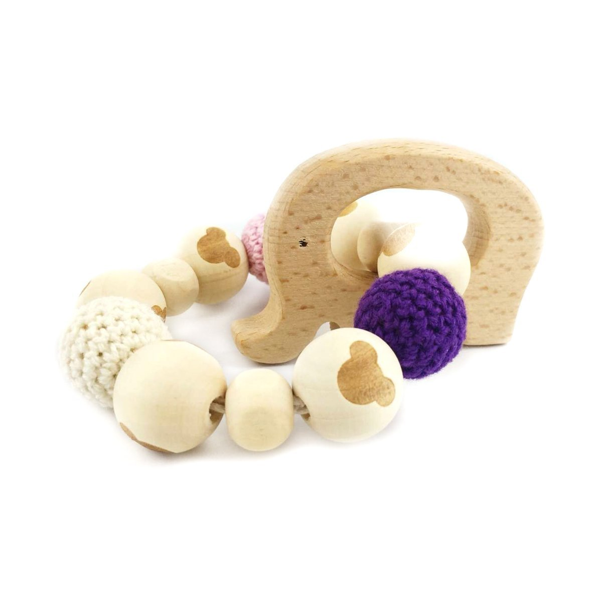 Elephant Wooden Teether Chew Beads Baby Rattle Teether Nattural Raw Crochet Beads Toy Mom Bracelet Ecofriendly Baby Teething (Elephant)