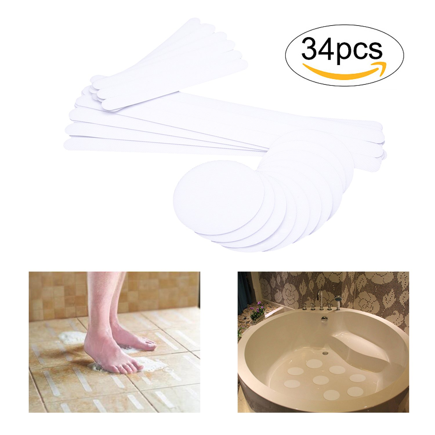 "Non Slip Tub Stickers, Bath Treads Safety Stickers for Shower, Pools, Boats, Stairs & More (Clear 10pcs 4 in(10cm) Diameter+ 12pcs 7.5"" x 0.79""+12pcs 15"" x 0.79"")"