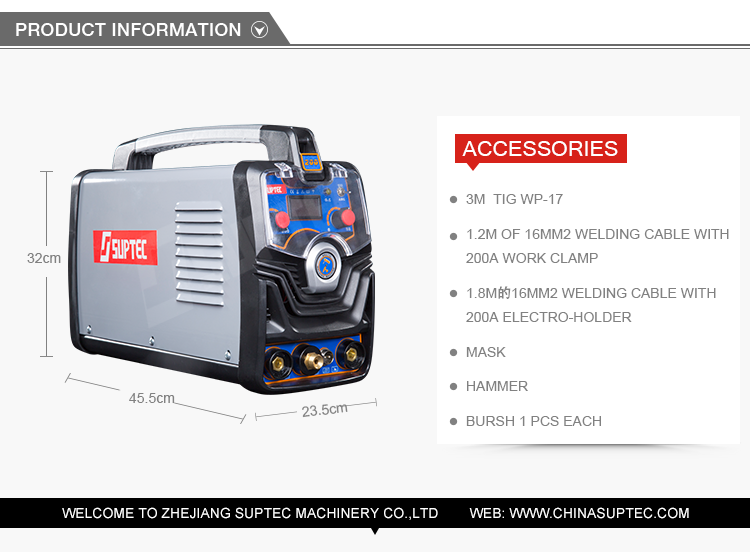 Suptec meilleur tig/mma machine de soudage semi-automatique pratique maquinas par filetage mâle