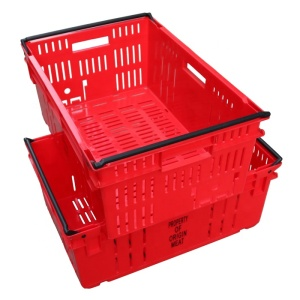 nested feature plastic ventilation storage crate for fruit food grade plastic crate