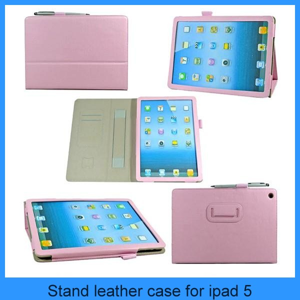 Stand leather case cover for ipad 5 ipad air protective in hand phone case