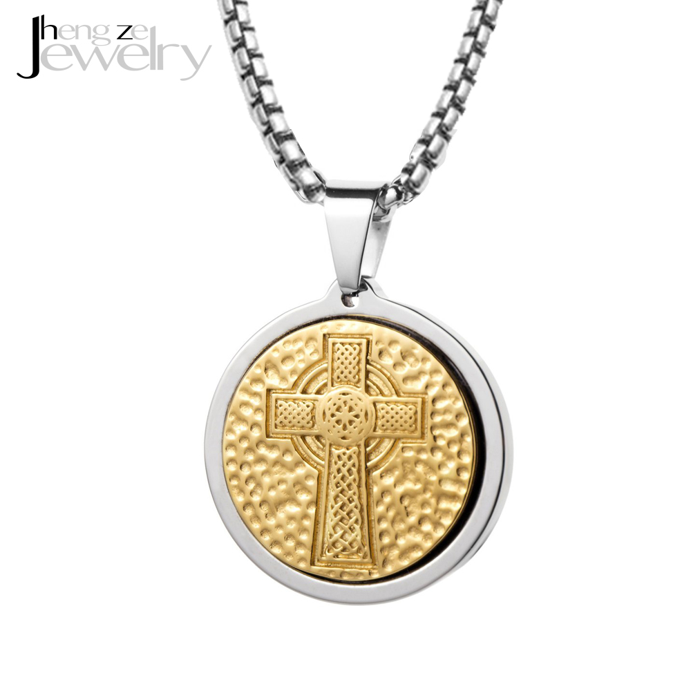 3984f02be238c 22 Inch Chain Mens Stainless Steel Gold Celtic Cross Medallion Necklace -  Buy Medallion Cross Necklace,Medallion Necklace,Gold Medallion Necklace ...