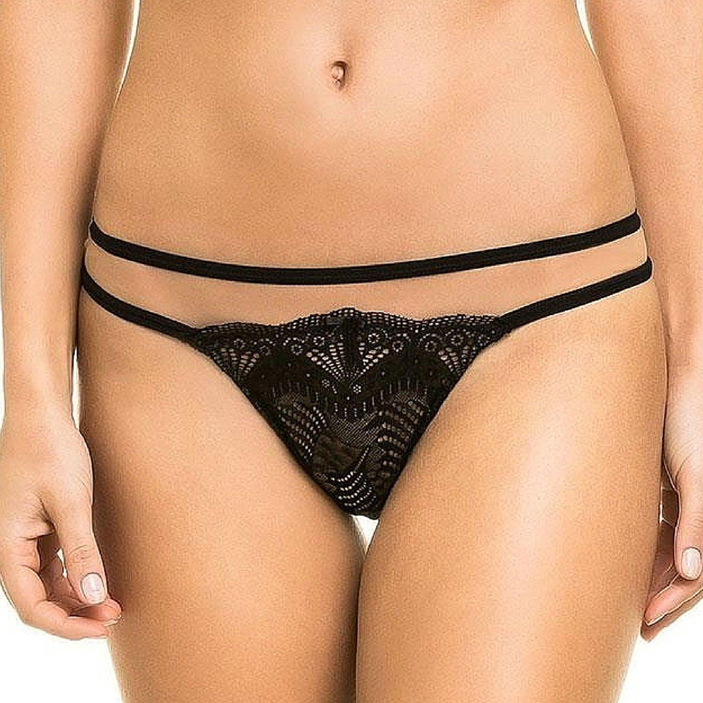 d2e87574609 Get Quotations · Black Laser Cut Lace Brazilian Panties. Women s Cheeky  Hipster Underwear Tanga (Medium)