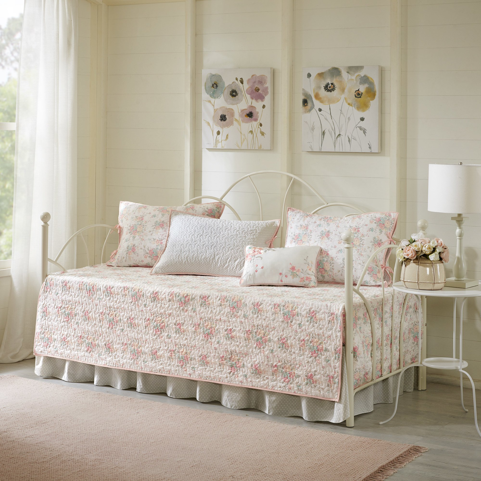 6 Piece Pink White Floral Daybed Cover Set, Geometric French Country Shabby Chic Motif Flower Cottage Farmhouse Pattern Day Bed Bedskirt Pillows, Polyester